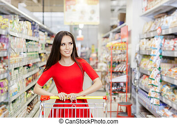 Woman Shopping at The Supermarket - Portrait of a young girl...