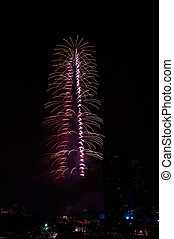 Fireworks Dubai downtown and Burj Khalifa on January 1,...