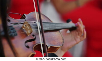 women in red dress musician playing violin extra close up...