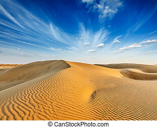 Dunes of Thar Desert, Rajasthan, India - Dunes of Thar...