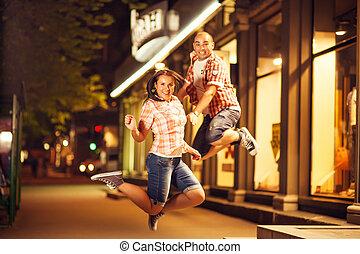 jump, couple