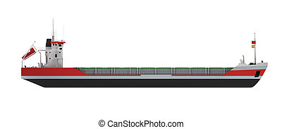 Big cargo ship isolated side view - isolated cargo ship over...