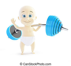child holding a barbell one hand on white background