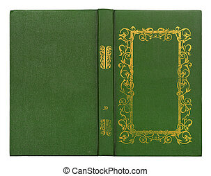 guld, läder, mönster, täcka, isolerat, bok, grön,  BAC, vit