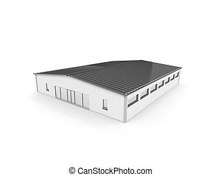 big hangar over white - isolated hangar on a white...