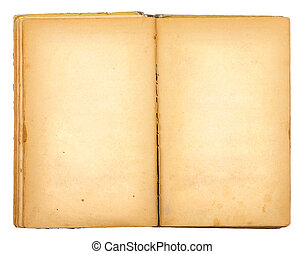 Vintage old open book isolated on white background