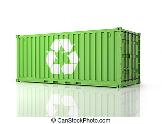 Container Eco. Perspective view of a green Container. Part of Wa