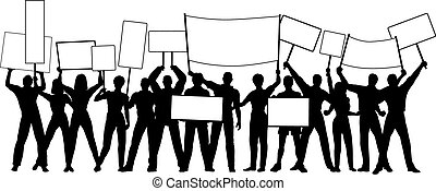Placard holders - Editable vector silhouettes of people...