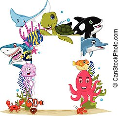 cartoon sea animals with blank sign - vector illustration of...