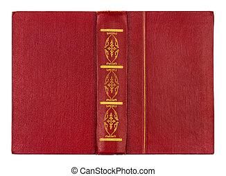 guld, Årgång, isolerat, bok, bakgrund, mönster, vit, röd
