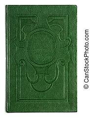 Årgång, isolerat, bok, grön, bakgrund, präglat, vit