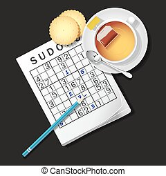 illustration of Sudoku game, mug of tea and cracker - top...