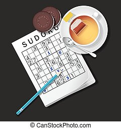 illustration of Sudoku game, mug of tea and cookies - top...