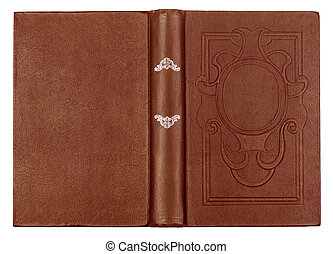 Vintage brown book with embossed on an isolated white...