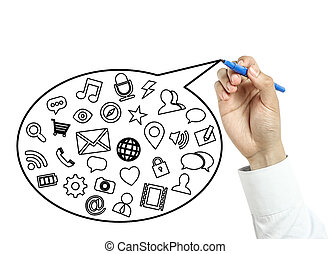 Businessman drawing social media concept - Businessman is...