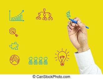 hombre de negocios, concepto, dibujo, empresa / negocio, mano