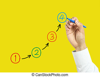 Businessman hand drawing steps concept - Businessman is...