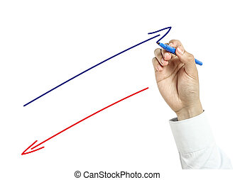 Businessman drawing positive and negative arrows concept -...