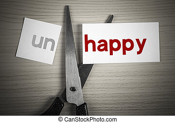 Cut happy from unhappy - A scissor is cuting happy from...