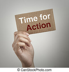 Time for action - Hand with brown card is showing Time for...