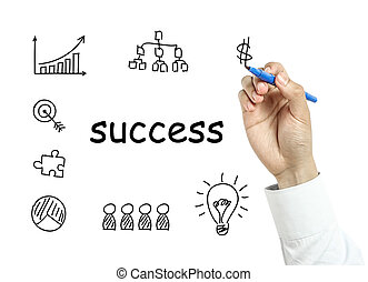 Businessman drawing success concept - Businessman is drawing...