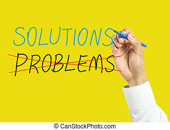 Businessman hand drawing solutions concept - Businessman is...