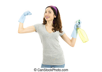 Cleaning lady with strong arms and holdig a spray bottle