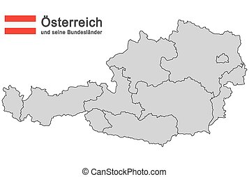 country Austria - silhouettes of Austria and the federal...