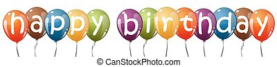 colored balloons with text HAPPY BIRTHDAY
