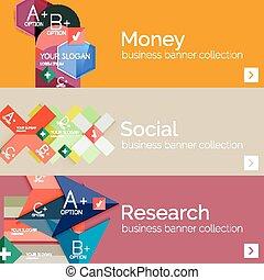 Flat modern info banner set