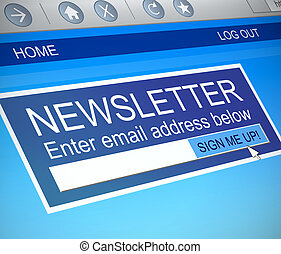 Newsletter concept. - Illustration depicting a computer...