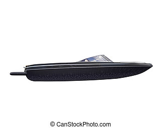 Black Boat isolated side view - isolated black boat on white...
