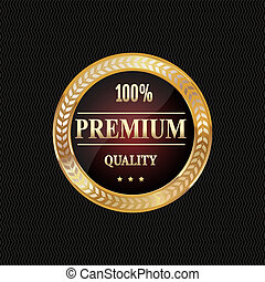 Golden label premium quality - illustration of golden label,...