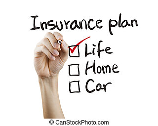insurance plan checklist checking by hand over white...