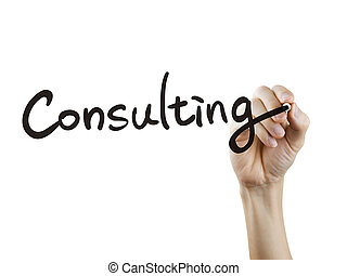 consulting word written by hand over white background