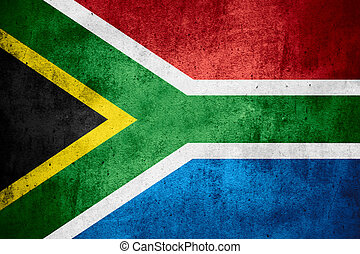 Republic of South Africa flag or banner on rough pattern...