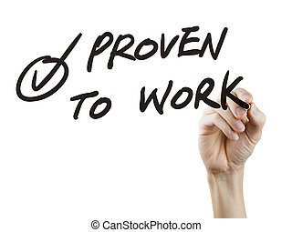 proven to work words written by hand over white background