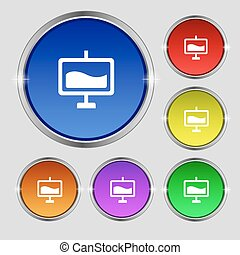 Presentation billboard icon sign. Round symbol on bright colourful buttons. Vector