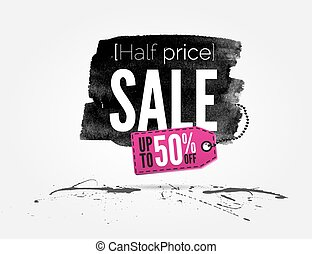 Sale watercolor banner with splashes - vector Half price...