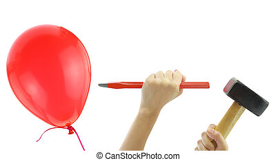 Chisel and hammer about to pop a balloon isolated on white