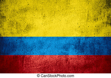 flag of Colombia or Colombian banner on rough pattern...
