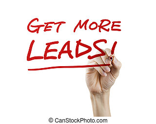 get more leads words written by hand on a transparent board