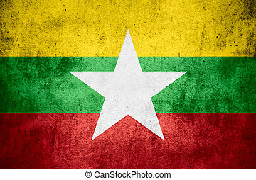 flag of Burma or Burmese banner on rough pattern texture...