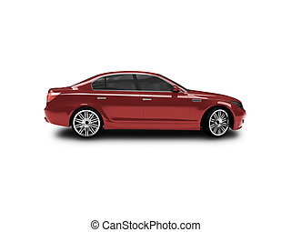 isolated red car side view - red car on a white background