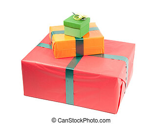 Present boxes - Studio shot of boxes with presents, isolated...