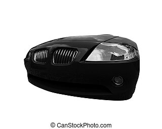 isolated black car front view 02 - isolated black cabriolet...
