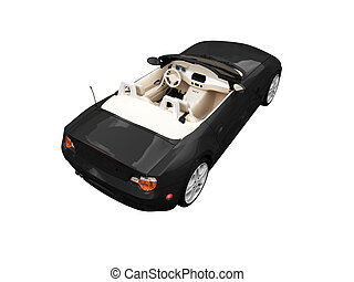 isolated black car back view 01 - isolated black cabriolet...