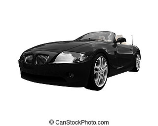isolated black car front view 01 - isolated black cabriolet...