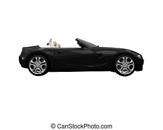 isolated black car side view - isolated black cabriolet car...