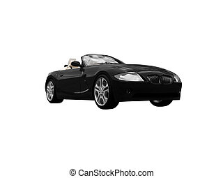isolated black car front view 05 - isolated black cabriolet...